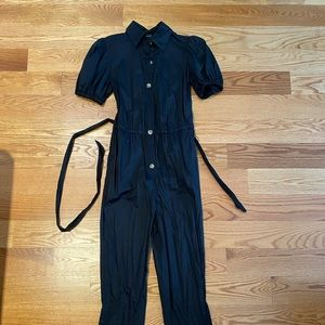 WHO WHAT WEAR Black Puff Sleeve Jumpsuit
